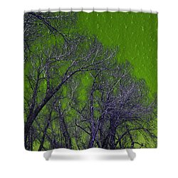Trees On Green Sky Shower Curtain