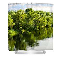 Trees Reflecting In River Shower Curtain by Elena Elisseeva