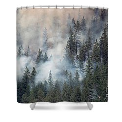 Beaver Fire Trees Swimming In Smoke Shower Curtain