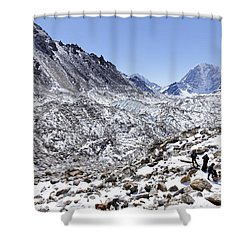 Trekkers En Route To Everest Base Camp In The Everest Region Of Nepal Shower Curtain by Robert Preston