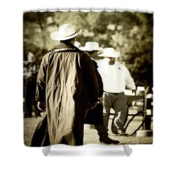 Trenchcoat Cowboy Shower Curtain by Trish Mistric
