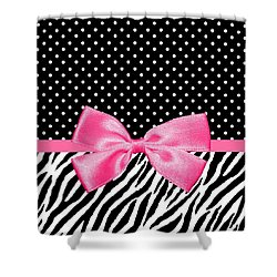 Trendy Zebra Print Pink Ribbon Shower Curtain