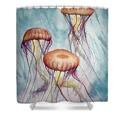 Tres Jellyfish Shower Curtain by Jeff Lucas