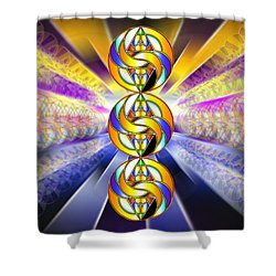 Shower Curtain featuring the drawing Tri-crescent Yin Yang by Derek Gedney