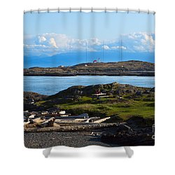 Trial Island And The Strait Of Juan De Fuca Shower Curtain by Louise Heusinkveld