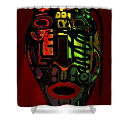 Tribal Mask Shower Curtain by Natalie Holland
