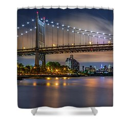Shower Curtain featuring the photograph Triboro Bridge by Mihai Andritoiu