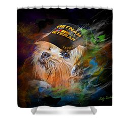 Shower Curtain featuring the digital art Tribute To Canine Veterans by Kathy Tarochione