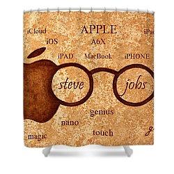 Tribute To Steve Jobs 2 Digital Art Shower Curtain by Georgeta  Blanaru