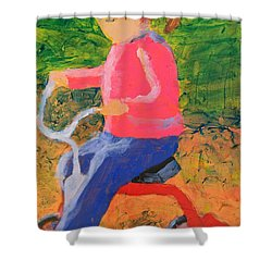 Shower Curtain featuring the painting Tricycle by Donald J Ryker III