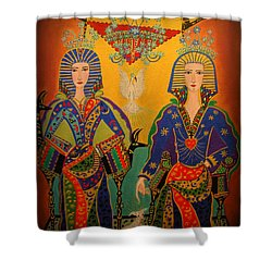 Shower Curtain featuring the painting Trinity by Marie Schwarzer