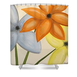 Trio Of Flowers Shower Curtain by Tim Townsend