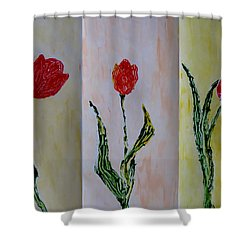 Trio Of  Red Tulips Shower Curtain by Sonali Gangane