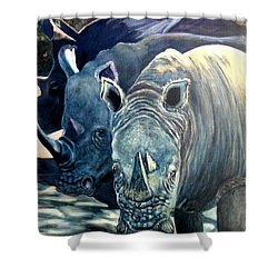 Trio Of Rhino Shower Curtain by Caroline Street