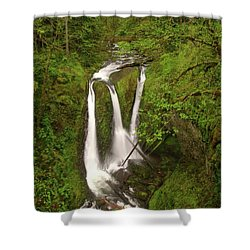 Triple Falls  Shower Curtain by Jeff Swan