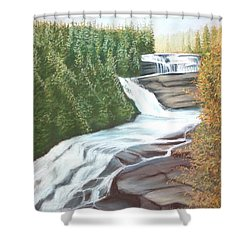 Triple Falls Shower Curtain by Stacy C Bottoms