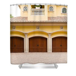 Triple Garage Doors Shower Curtain by Les Palenik