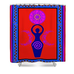 Shower Curtain featuring the digital art Triple Goddess by Vagabond Folk Art - Virginia Vivier