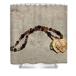 Triple Leaf Costume Brooch Pendant Necklace 3637 Shower Curtain by Teresa Mucha
