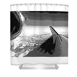 Shower Curtain featuring the photograph Red White Black An White Blue An White Jet Pop Art Planes. by R Muirhead Art