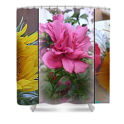 Triptych Of Summer Florals Shower Curtain by Kay Novy