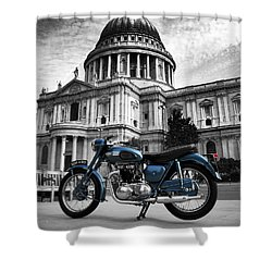 Triumph Thunderbird At St Pauls Cathedral Shower Curtain by Mark Rogan