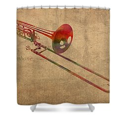 Trombone Brass Instrument Watercolor Portrait On Worn Canvas Shower Curtain