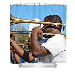Trombone Man Shower Curtain by Steve Harrington