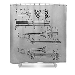 Trombone Patent Drawing Shower Curtain by Dan Sproul