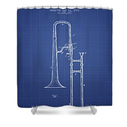 Trombone Patent From 1902 - Blueprint Shower Curtain by Aged Pixel
