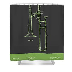 Trombone Patent From 1902 - Modern Gray Green Shower Curtain by Aged Pixel