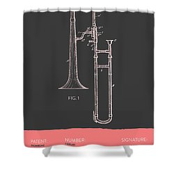 Trombone Patent From 1902 - Modern Gray Salmon Shower Curtain by Aged Pixel