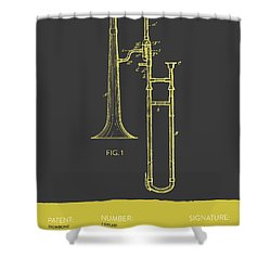 Trombone Patent From 1902 - Modern Gray Yellow Shower Curtain by Aged Pixel