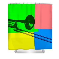 Trombone Pop Art Shower Curtain by Dan Sproul
