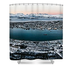 Tromso From The Mountains Shower Curtain by Dave Bowman