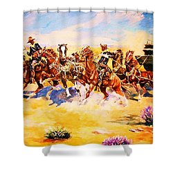 Troopers Stopping A Runaway Coach Shower Curtain