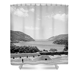 Trophy Point North Fro West Point In Black And White Shower Curtain