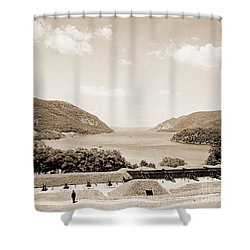 Trophy Point North Fro West Point In Sepia Tone Shower Curtain