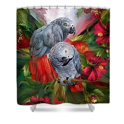 Shower Curtain featuring the mixed media Tropic Spirits - African Greys by Carol Cavalaris