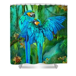 Shower Curtain featuring the mixed media Tropic Spirits - Gold And Blue Macaws by Carol Cavalaris