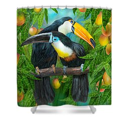 Tropic Spirits - Toucans Shower Curtain by Carol Cavalaris