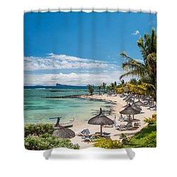 Tropical Beach II. Mauritius Shower Curtain by Jenny Rainbow