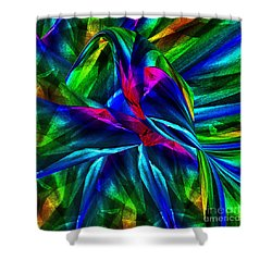 Tropical Bird Sits On A Tropical Tree Shower Curtain