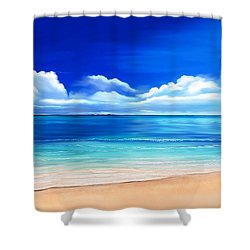 Shower Curtain featuring the drawing Tropical Blue by Anthony Fishburne