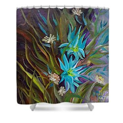 Tropical Blue Shower Curtain by Jenny Lee