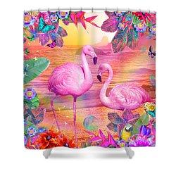 Tropical Flamingo Shower Curtain by Alixandra Mullins