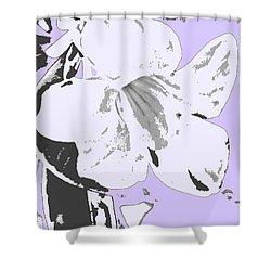 Tropical Floral Violet Black Shower Curtain