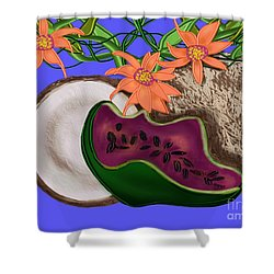 Tropical Fruit Shower Curtain by Christine Fournier