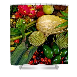 Tropical Fruits Shower Curtain by Carey Chen