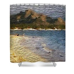 Shower Curtain featuring the digital art Tropical Getaway by Anthony Fishburne